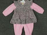 出口原单粉红色豹纹婴儿连体服爬爬衣 珊瑚绒小裙摆爬衣