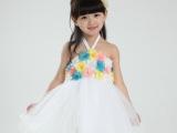 爆款夏季新款短袖女童背心裙 韩版儿童花朵网纱吊带裙子 中小童裙