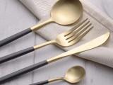 葡萄牙同款 304叉勺西餐具黑金牛排叉