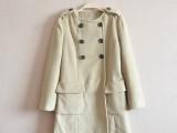 外贸原单正品女式羊毛大衣 2015秋冬女装中长款羊毛双排扣大衣女