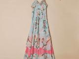 夏装新款女装吊带长裙 波西米亚碎花雪纺长款连衣裙 吊带沙滩裙