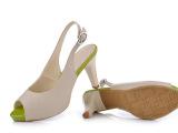 批发新款欧美 凉鞋女鞋 石头纹真皮女单鞋鱼嘴凉鞋细高跟女凉鞋