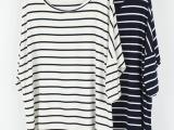 欧美风2013春秋装女长款蝙蝠袖宽松7分袖条纹T恤大码莫代尔打底