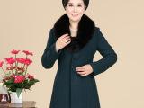 秋冬装新款妈妈装中国风中老年女装时尚毛领两粒扣毛呢大衣外套