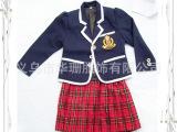 韩版校服套装,蓝色上衣红色格子百褶裙校服定制专业生产加工