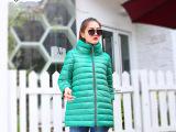 2015秋冬新品韩版女式外套 七分袖棉袄中长款羽绒棉衣 薄款棉服