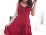 一件代发 夏季韩国女装莫代尔宽松大码背心连衣裙蛋糕裙 免费加盟