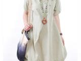 木岩2014夏季新款韩版大码女装宽松休闲褶皱圆领短袖连衣裙批发