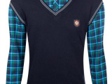 秋季加绒男士格子加绒加厚保暖衬衫 男式假两件V领打底针织衫上衣