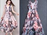 欧洲站春夏新款时尚印梦露头像V领蕾丝拼接荷叶边无袖长裙连衣裙