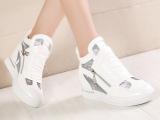 2015夏季新款镂空透气真皮网纱内增高女鞋坡跟高帮鞋韩版品牌女鞋