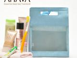 帆布网纱大容量丝带手拎洗漱收纳包  义乌化妆包厂家 帆布拉链袋