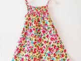 外贸女童纯棉吊带裙C&A夏维夷风夏天花裙长裙连衣裙多色背