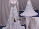 2015新款中袖V领蕾丝镂空露背拖尾婚纱蝴蝶结绑带新娘婚纱礼服