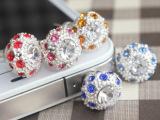 皇冠钻石手机防尘塞 三星 苹果5金属耳机塞 3.5mm接口通用