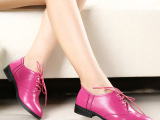 2014秋冬新款女单鞋时尚韩版真皮女鞋中跟系带尖头粗跟女式鞋直销