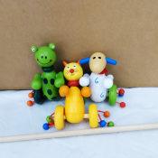 2014新款儿童木制玩具 启蒙多彩卡通小推车婴幼儿玩具 低价批发
