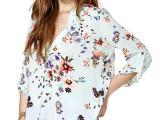 欧美风女士秋季新款 人棉印花衬衫