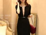 夏季新款女装韩版连衣裙中袖v领|职业装黑色连衣裙送腰带