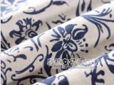 纺织棉类民族风仿蜡染青花瓷白底青花亚麻印花布棉麻布料服装面料