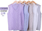 枫御2015夏季新款 V领无袖高档出口订单亚麻苎麻针织背心女式薄