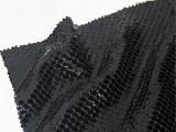 直销 亮光黑PU涂层立体3D蜥蜴纹面料