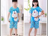 夏季新款卡通机器猫小孩男童 女童短袖牛奶丝睡衣家居服套装