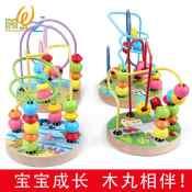 【优质供应】木制小绕珠卡通绕珠木制玩具益智玩具4款圆盘绕珠