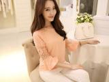 2014夏装新款大码女装韩版气质显瘦蕾丝刺绣打底 雪纺衫女