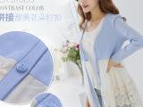 2014深V领蕾丝拼接开衫打底针织衫女款连衣裙韩版大码女装孕妇装