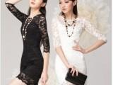 【直销】2013韩国新女装春夏针织镂空修身包臀两件套蕾丝裙连衣裙