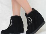 2013新款流苏磨砂真皮厚底坡跟雪地靴短靴铆钉时尚女鞋圆头短靴子
