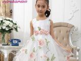 戈莎曼璐夏装女童甜美印花精美花朵装饰蓬蓬公主裙