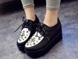 2014新款欧美女鞋子复古英伦小皮鞋铆钉黑色单鞋内增高厚底松糕鞋
