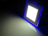 新款LED面板灯可开关切换双色18W方形吸顶灯客厅灯双色面板灯