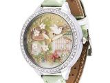 韩国m:n:手工软陶卡通手表双层玻璃水钻时装女表S1050 真皮