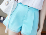2014新款瑞丽女装 拼纱蕾丝边高腰短裤女夏季 女式休闲裤子女裤