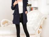 春季新款女装OL通勤纯色修身加厚长袖外套翻领中长款毛呢大衣女