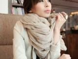 韩国秋冬纯色夏季披肩棉麻百搭褶皱超大超长男女围巾 80g