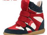 刘嘉玲同款 韩版潮鞋魔术贴内增高女鞋批发 一件代发货 招分销