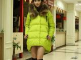 冬季新款中长款貉子毛领A字型斗篷羽绒服女 大码女式羽绒服批发