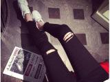 2015自留版型一级棒一万个推荐撕破显瘦黑色洋气小脚铅笔裤