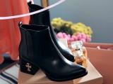 2014秋冬新款真皮短靴 英伦风高跟低筒马丁靴 尖头粗跟短靴女靴