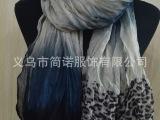 2014外贸原单高品质春秋冬披肩欧美渐变豹纹印花巴厘纱围巾