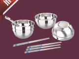 【厂家直销】厨房餐具用品 柏尼威斯不锈钢双层碗套装 礼品