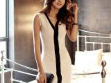 2014夏季新款 韩国代购品质深V领修身无袖连衣裙
