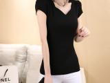 厂家直销 2014夏季新款女装 韩版螺纹棉V领短袖t恤女 批发
