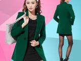 秋装新款粉色双排纽扣口袋职业小西服时尚女装外套长袖西服领