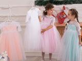 艾宝新款多色女童表演礼服花童蕾丝中袖蓬蓬