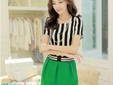 有现货夏装新款 韩版休闲套装 短袖上衣短裙两件套女连衣裙